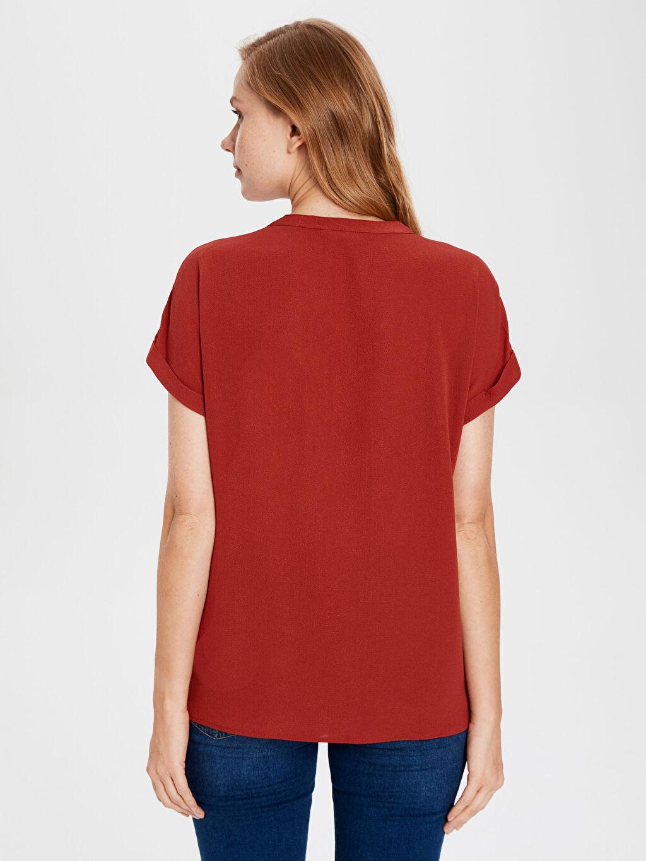 %97 Polyester %3 Elastan Kısa Kollu Düz Gömlek