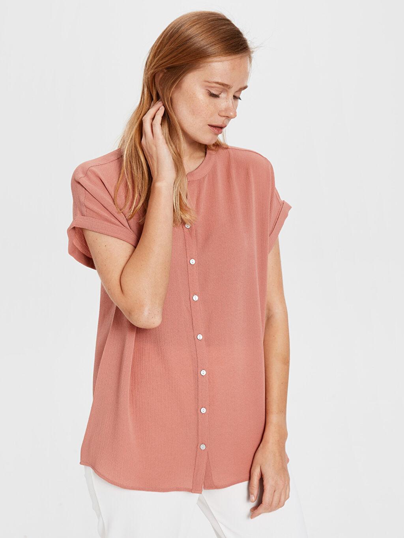 %97 Polyester %3 Elastan İnce Kısa Kol Düz Gömlek Elbise Krep Gömlek Uzun Pat Standart Kısa Kollu Düz Gömlek