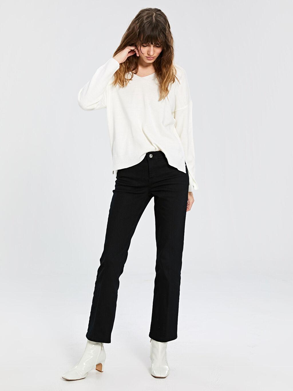 %99 Pamuk %1 Elastan Standart Normal Bel Jean Standart Orta Kalınlık Normal Bel Jean Pantolon