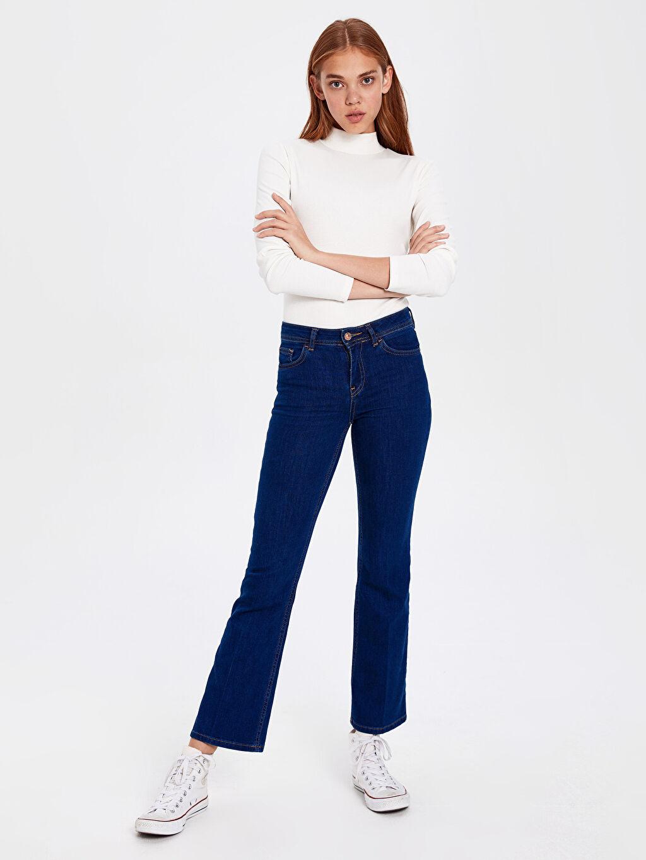 %86 Pamuk %12 Polyester %2 Elastan Standart Normal Bel Jean Standart Orta Kalınlık Bilek Boy Jean Pantolon