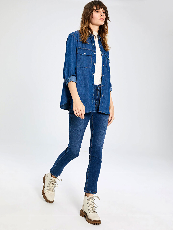 %100 Pamuk İnce Uzun Kol %100 Pamuk Standart Jean Gömlek Standart Cep Detaylı Jean Gömlek