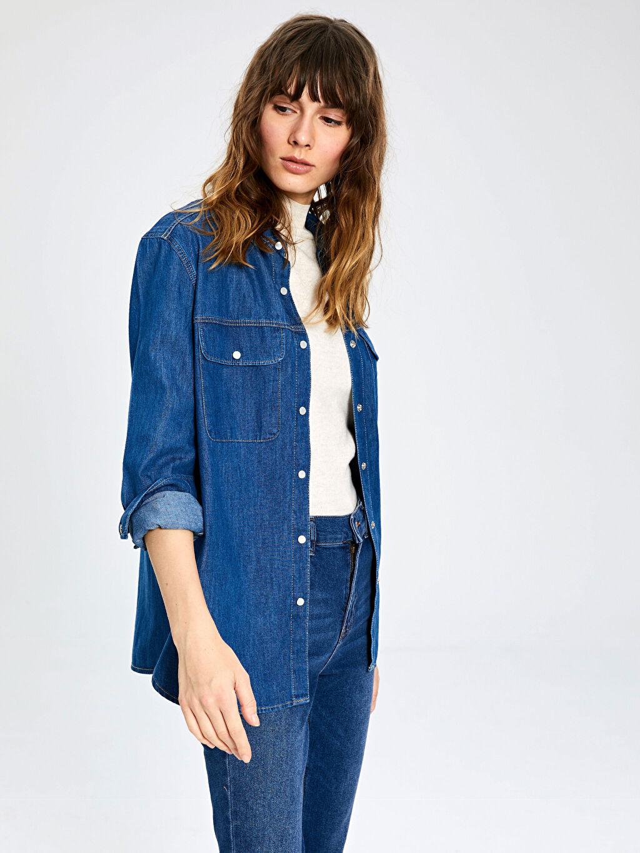 Kadın Cep Detaylı Jean Gömlek