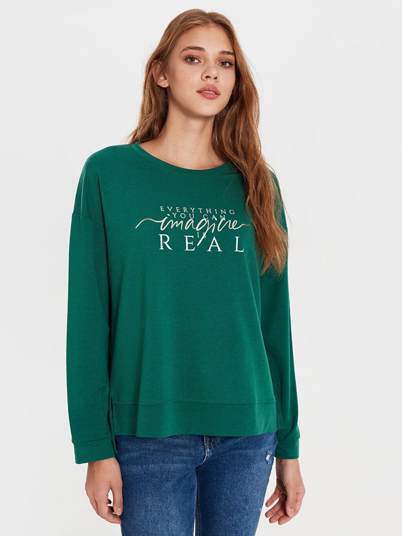 Yeşil Sweatshirt 0S8468Z8 LC Waikiki