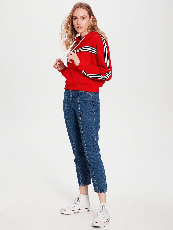 %44 Pamuk %56 Polyester Standart Standart İnce Uzun Kol Sweatshirt Kapüşon Yaka Kalın Sweatshirt Kumaşı Günlük Şerit Detaylı Kapüşonlu Crop Sweatshirt