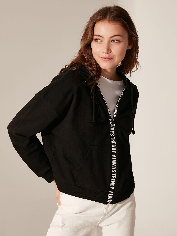 %70 Pamuk %30 Polyester Günlük Standart Spor Hırka İnce Sweatshirt Kumaşı Standart Kapüşon Yaka Uzun Kol Orta Kalınlık Slogan Şerit Detaylı Kapüşonlu Sweatshirt