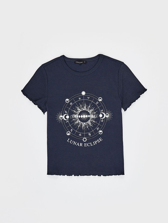 LC Waikiki Lacivert Astroloji Baskılı Pamuklu Tişört