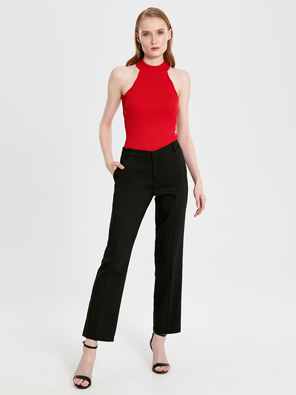 %54 Pamuk %42 Polyester %4 Elastan Çift Yüzlü Kumaş Standart Normal Bel Uzun Pantolon Düz Orta Kalınlık Bilek Boy Esnek Pantolon