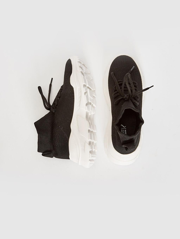 Yuvarlak Burun Aktif Spor Ayakkabı Düz Konforlu İç Taban 3 cm Çekmeli Bilek Boy Kadın Kalın Tabanlı Bilekli Çorap Model Spor Ayakkabı