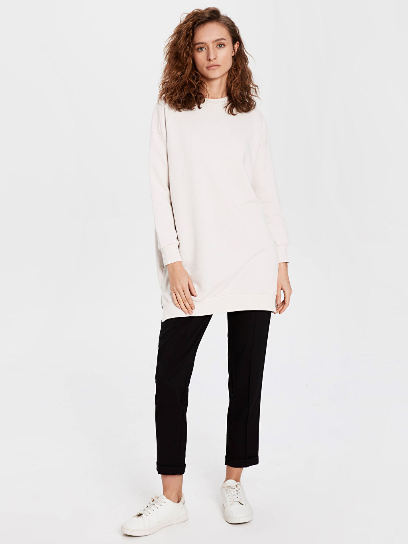 %14 Polyester %86 Viskon İnce Pantolon Standart Normal Bel Dokulu Harem Pantolon