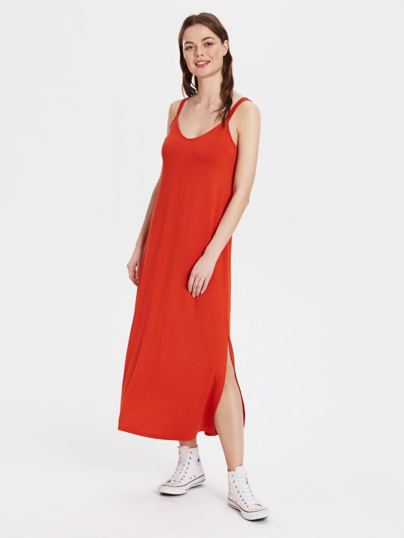 %97 Viskon %3 Elastan Kolsuz İnce Günlük Vücuda Oturan Düz Midi Elbise Jarse Standart Yırtmaç Detaylı Viskon Uzun Salaş Elbise