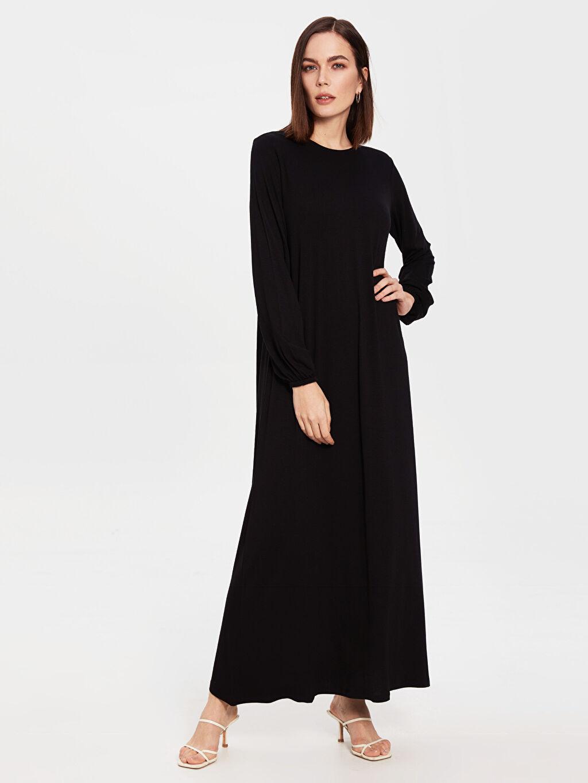 %97 Viskon %3 Elastan İnce Uzun Kol Düz Astarlı A Kesim Penye Ofis/Klasik Standart Uzun Elbise Uzun Salaş Viskon Elbise