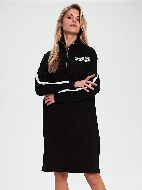 %84 Pamuk %16 Polyester Elbise İnce Sweatshirt Kumaşı Uzun Kol Düz Bisiklet Yaka Diz Üstü Aile Koleksiyonu Şerit Detaylı Fermuarlı Elbise