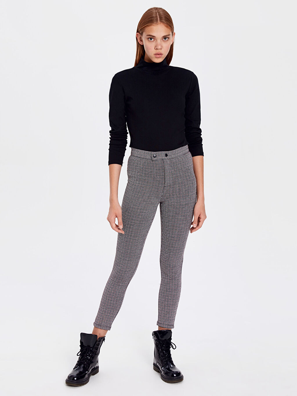 %80 Poliester %19 Viskoz %1 Elastan Uzun Skinny Pantolon Yüksek Bel Ekose Kaz Ayağı Desenli Skinny Pantolon