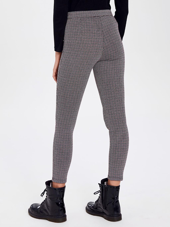 Kadın Kaz Ayağı Desenli Skinny Pantolon
