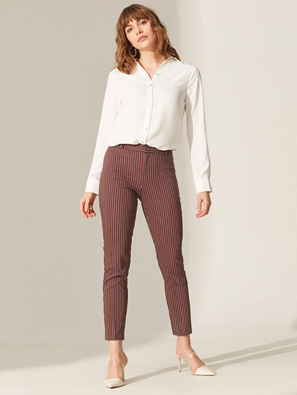 Siyah Bilek Boy Çizgili Slim Kumaş Pantolon 0SJ071Z8 LC Waikiki