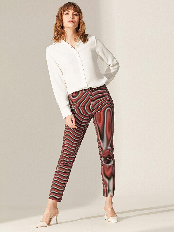 %54 Pamuk %42 Polyester %4 Elastan Pantolon Bilek Boy Çift Yüzlü Kumaş Standart Normal Bel Baskılı Orta Kalınlık Bilek Boy Çizgili Slim Kumaş Pantolon