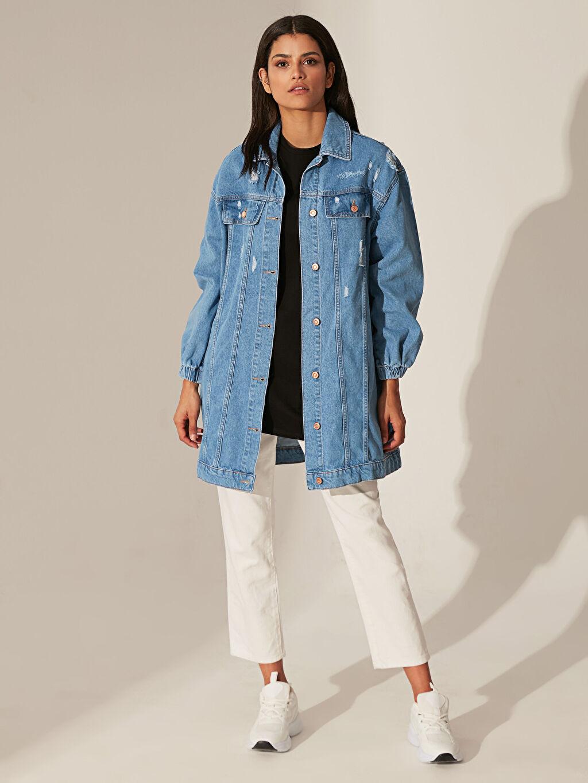 %100 Pamuk Jean Ceket Salaş Orta Kalınlık Uzun Kol Uzun Jean Ceket