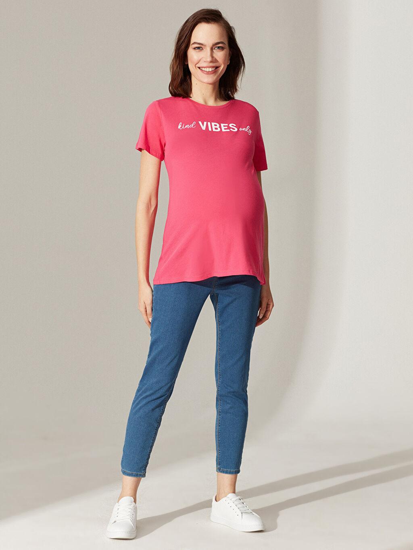 Kadın Yazı Baskılı Pamuklu Hamile Tişört