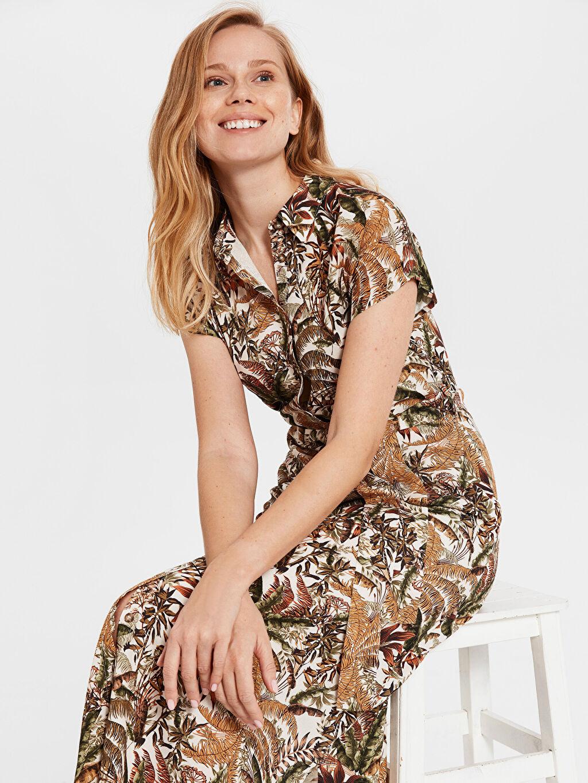 %100 Viskoz İnce Ofis/Klasik Standart Astarsız Çiçekli Kısa Kol Elbise Midi Gömlek Elbise Kuşaklı Desenli Gömlek Elbise