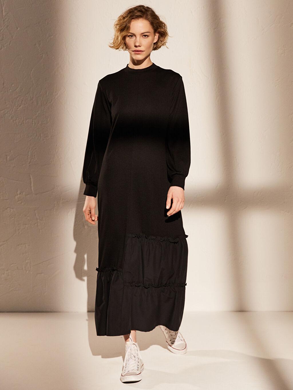 Siyah Fırfır Detaylı Uzun Viskon Elbise 0SL432Z8 LC Waikiki