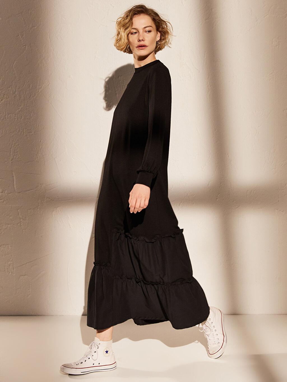 %25 Poliester %73 Viskoz %2 Elastan Elbise Ofis/Klasik Astarsız İnterlok Maksi Uzun Kol Düz Kalın Fırfır Detaylı Uzun Viskon Elbise
