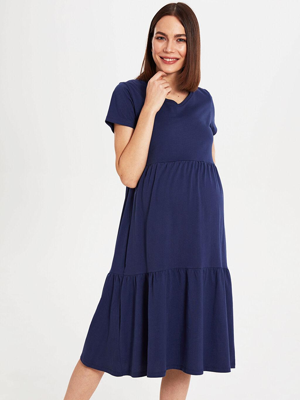 %100 Pamuk İnce %100 Pamuk Elbise Astarsız Günlük V Yaka Kısa Kol Düz A Kesim Midi Süprem Hamile Pamuklu Elbise