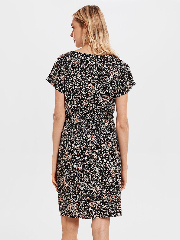 %100 Viskoz Desenli Kuşaklı Viskon Elbise