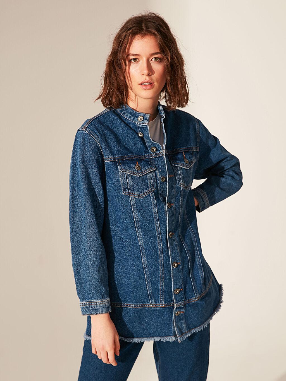 %100 Pamuk Jean Ceket Salaş Orta Kalınlık Uzun Kol Dik Yaka Jean Ceket
