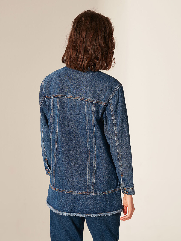 Kadın Dik Yaka Jean Ceket