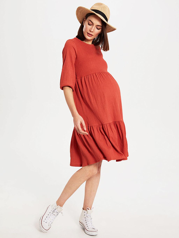 %99 Polyester %1 Elastan İnce Elbise Belden Oturtma Astarsız Günlük Midi Süprem 3/4 Boy V Yaka Diğer Dokulu Kumaştan Fırfır Detaylı Hamile Elbise