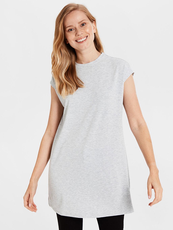 %62 Polyester %3 Elastan %35 Viskoz Kolsuz Tişört Penye Standart İnce Düz Basic Tunik