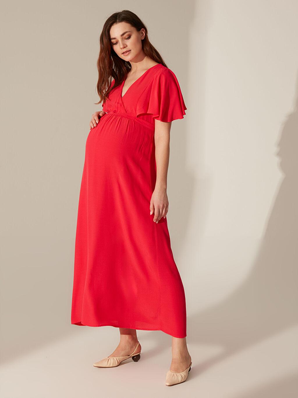 Kırmızı Kolları Volanlı Uzun Viskon Hamile Elbisesi 0SM281Z8 LC Waikiki