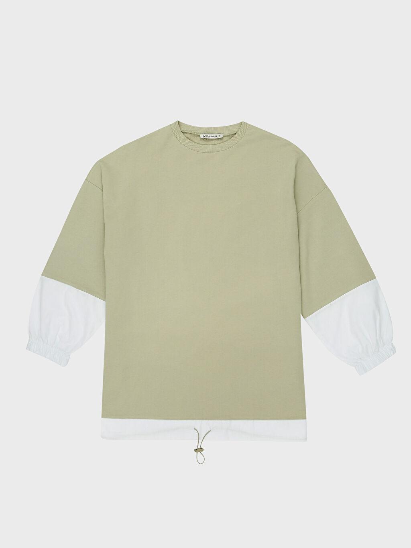 LC Waikiki Yeşil Renk Bloklu Pamuklu Sweatshirt