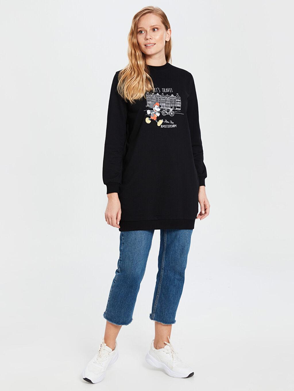 %100 Pamuk Bisiklet Yaka Uzun Kol İnce Sweatshirt Kumaşı Sweatshirt Standart Baskılı Orta Kalınlık Tunik Diz Üstü Mickey Mouse Baskılı Sweatshirt