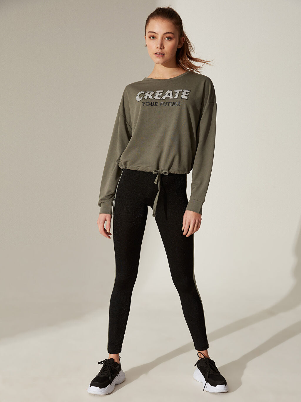 Kadın Aktif Spor Baskılı Crop Sweatshirt