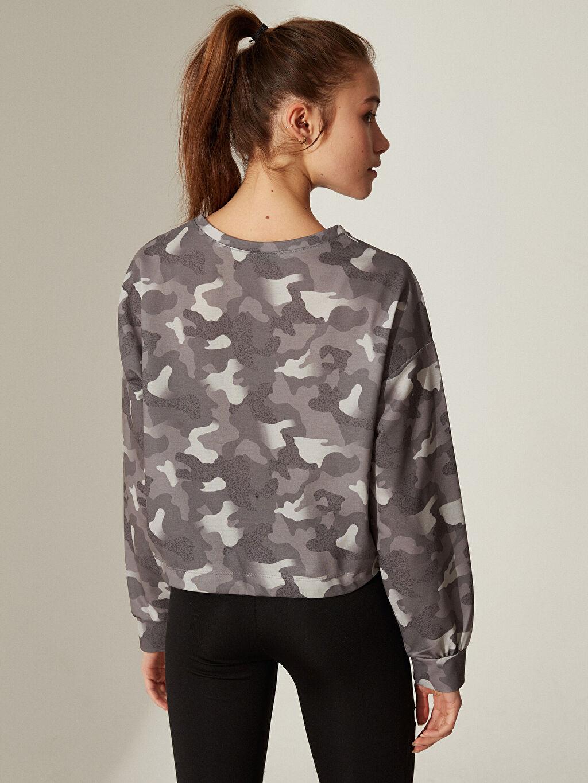 %100 Polyester Aktif Spor Baskılı Crop Kapüşonlu Sweatshirt