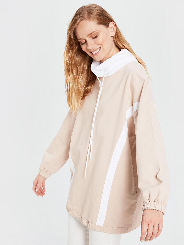 %100 Pamuk Oversize İnce Sweatshirt Kumaşı Sweatshirt Orta Kalınlık Diğer Tunik Basen Altı Uzun Kol Dik Yaka Yaka Detaylı Şeritli Oversize Sweatshirt