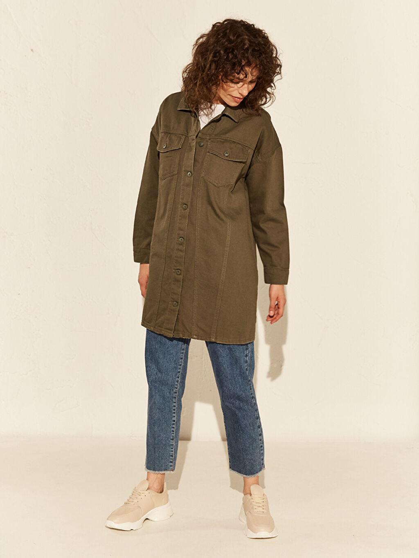 Kadın Düğme Detaylı Oversize Jean Ceket