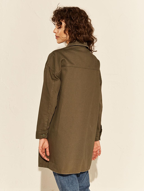%100 Pamuk Düğme Detaylı Oversize Jean Ceket