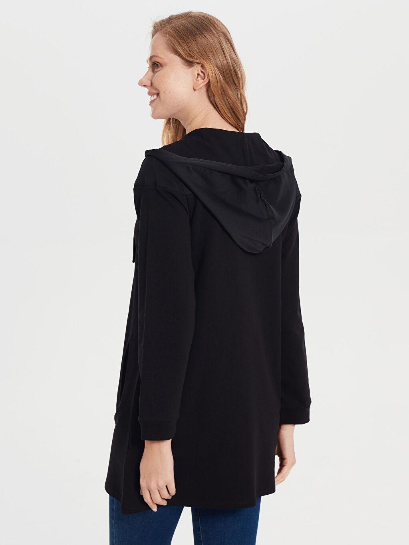 Kadın Fermuarlı Kapüşonlu Uzun Sweatshirt