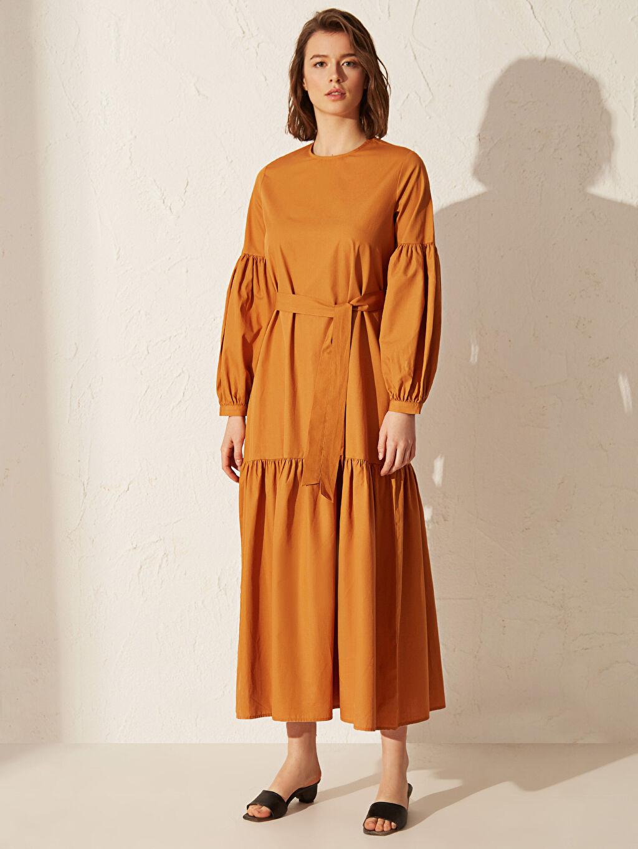 Kadın Kuşaklı Uzun Poplin Elbise