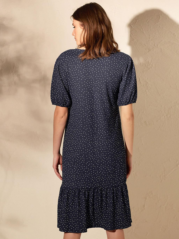 %99 Polyester %1 Elastan Puantiye Desenli Hamile Elbise