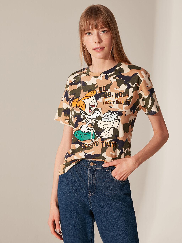 Bej Wilma Çakmaktaş Baskılı Pamuklu Tişört 0SB778Z8 LC Waikiki