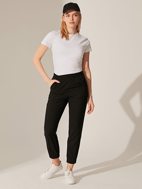 %7 Poliester %93 Vıscose Pantolon Dar Paça Gabardin Standart Baskılı Normal Bel Uzun Yüksek Bel Şerit Detaylı Viskon Pantolon