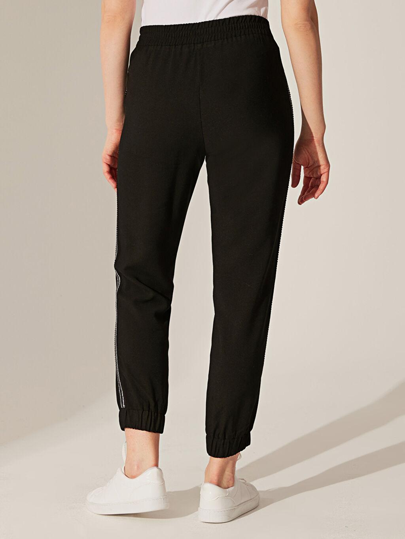 Kadın Yüksek Bel Şerit Detaylı Viskon Pantolon