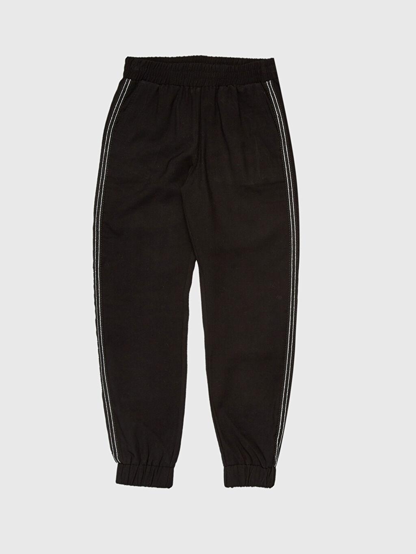 %7 Poliester %93 Vıscose Yüksek Bel Şerit Detaylı Viskon Pantolon