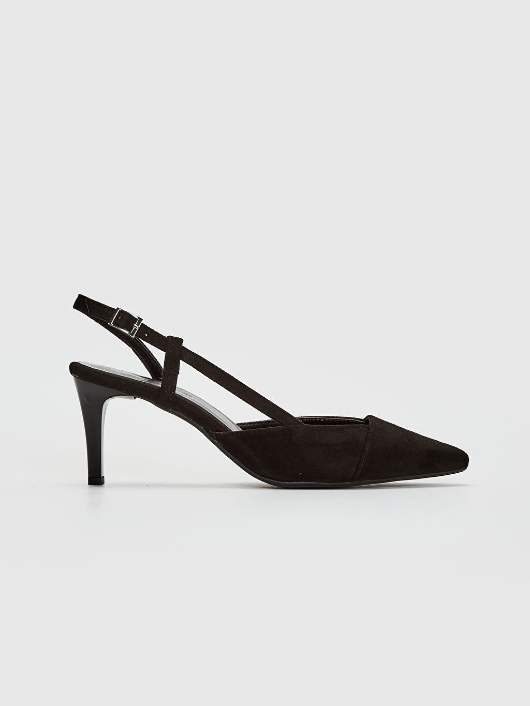 Siyah Kadın Süet Topuklu Sandalet 0SC200Z8 LC Waikiki