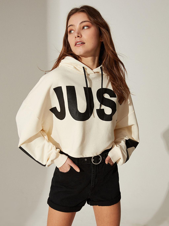 %61 Pamuk %39 Polyester Uzun Kol Orta Kalınlık Günlük Standart Sweatshirt Standart Kapüşon Yaka Üç İplik Yazı Baskılı Kapüşonlu Oversize Sweatshirt