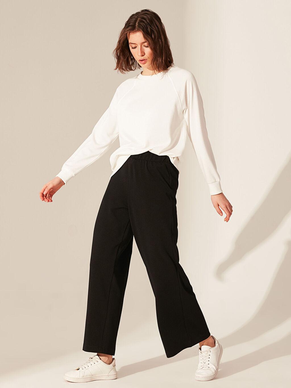 %100 Polyester Orta Kalınlık Bol Normal Bel Pantolon Geniş Paça Krep Beli Lastikli Geniş Paça Pantolon
