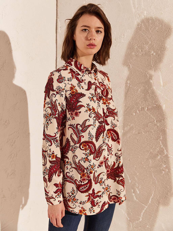 %100 Viskoz İnce Gömlek Elbise Standart Baskılı Uzun Kol Gömlek Uzun Pat Desenli Viskon Gömlek